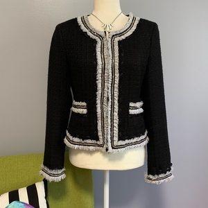WHBM Black Tweed Blazer with Ribbon Trim